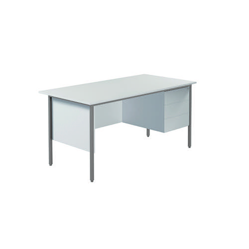 Serrion 4 Leg Desk 1500mm with 3 Drawer Pedestal White KF800071