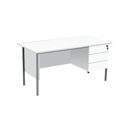 Serrion Rectangular 3 Drawer Pedestal 4 Leg Desk 1500x750x730mm White KF800071