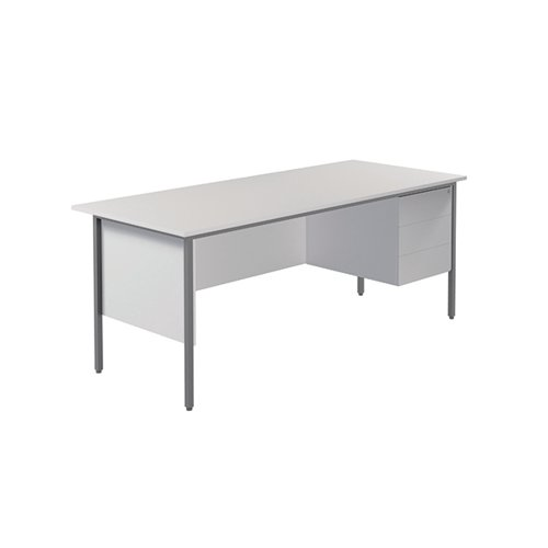 Serrion 4 Leg Desk 1800mm with 3 Drawer Pedestal White KF800087