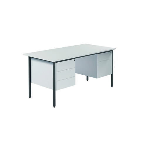 Serrion 4 Leg Desk 1500mm with Double Pedestal White KF800093