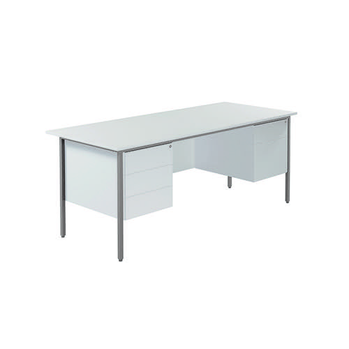 Serrion 4 Leg Desk 1800mm with Double Pedestal White KF800108
