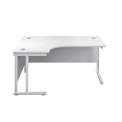 Serrion Left Hand Radial Cantilever Desk 1500mm White KF800177