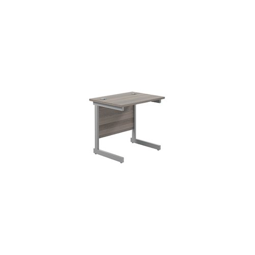 Jemini Single Rectangular Desk 800x600mm Grey Oak/Silver KF800295