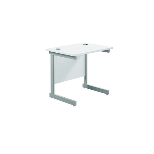Jemini Single Rectangular Desk 800x600mm White/Silver KF800316