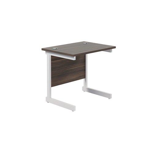 Jemini Single Rectangular Desk 800x600mm Dark Walnut/White KF800391