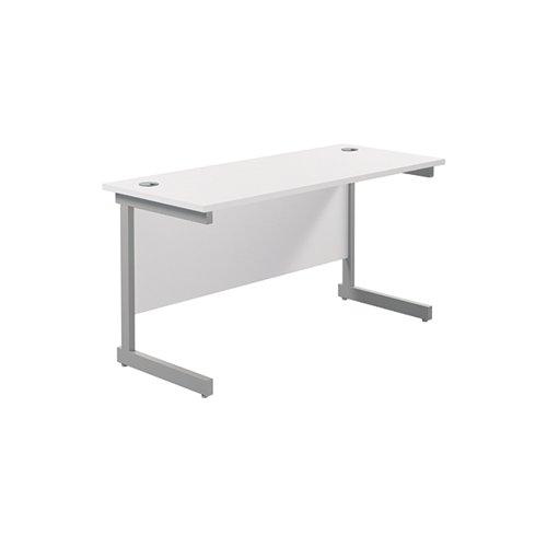Jemini Single Rectangular Desk 1200x600mm White/Silver KF800431
