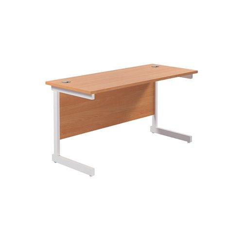 Jemini Single Rectangular Desk 1200x600mm Beech/White KF800469