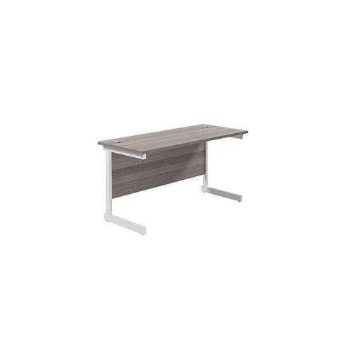 Jemini Single Rectangular Desk 1200x600mm Grey Oak/White KF800475