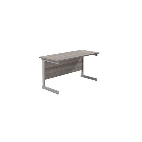 Jemini Single Rectangular Desk 1400x600x730mm Grey Oak/Silver KF800537