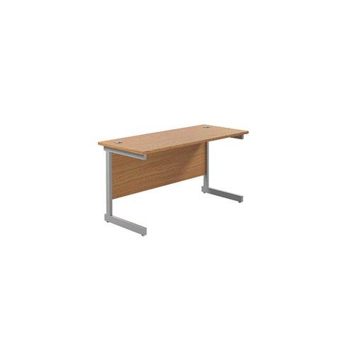 Jemini Single Rectangular Desk 1400x600mm Nova Oak/Silver KF800543