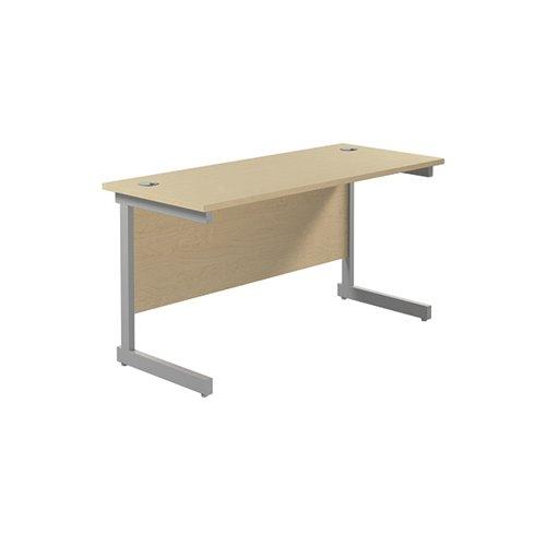 Jemini Single Rectangular Desk 1400x600mm Maple/Silver KF800565