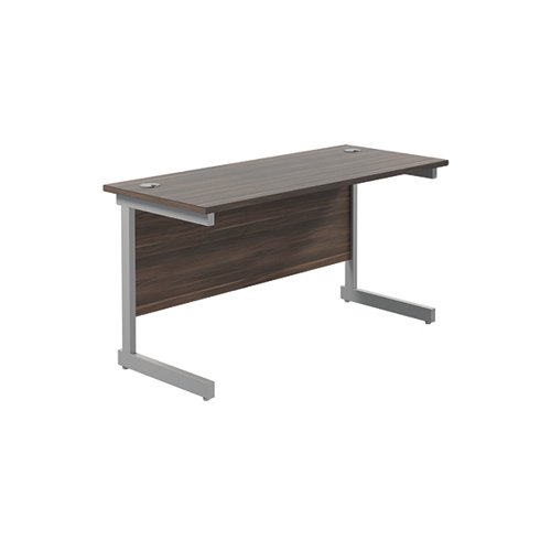 Jemini Single Rectangular Desk 1400x600mm Dark Walnut/Silver KF800571