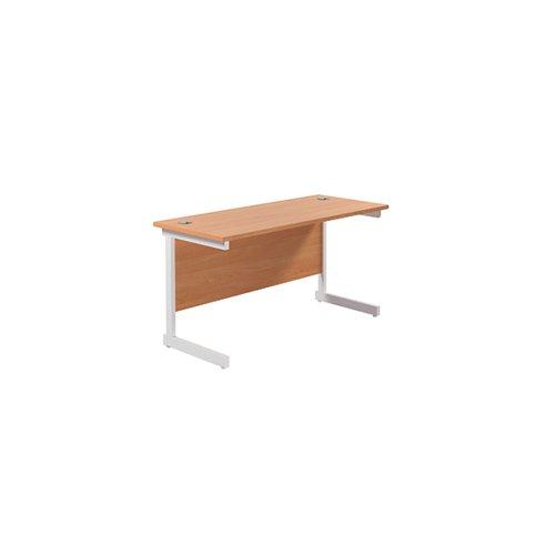 Jemini Single Rectangular Desk 1400x600mm Beech/White KF800587