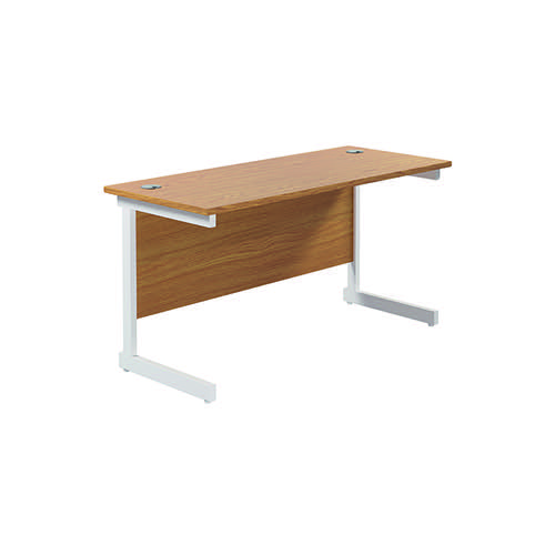 Jemini Single Rectangular Desk 1400x600x730mm Nova Oak/White KF800608