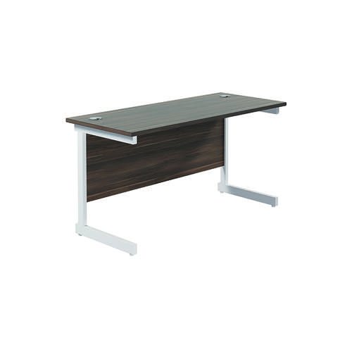 Jemini Single Rectangular Desk 1400x600mm Dark Walnut/White KF800632