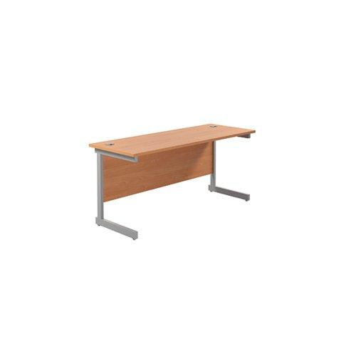 Jemini Single Rectangular Desk 1600x600mm Beech/Silver KF800648