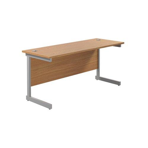 Jemini Single Rectangular Desk 1600x600mm Nova Oak/Silver KF800660