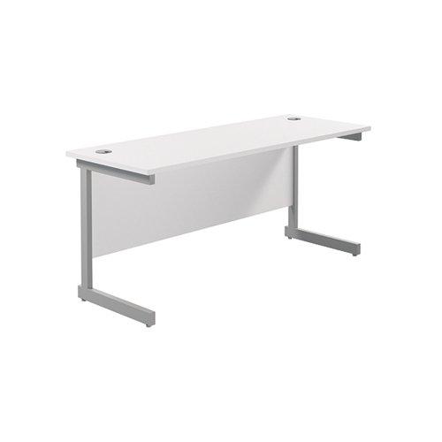 Jemini Single Rectangular Desk 1600x600mm White/Silver KF800676