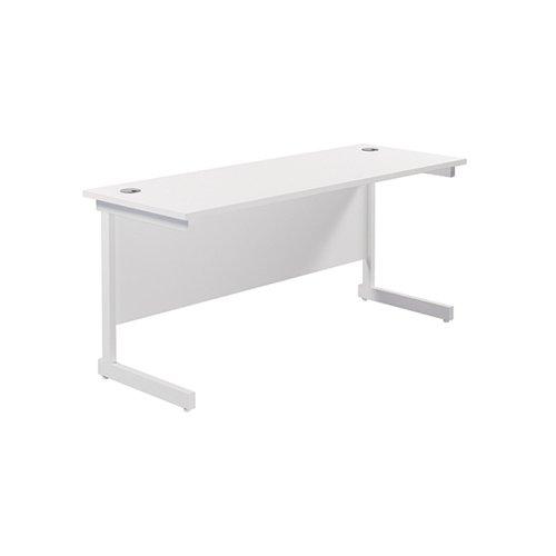 Jemini Single Rectangular Desk 1600x600mm White/White KF800738
