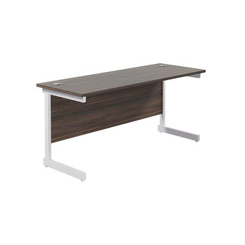 Jemini Single Rectangular Desk 1600x600mm Dark Walnut/White KF800750