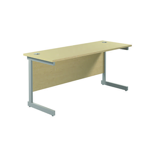 Jemini Single Rectangular Desk 1800x600mm Maple/Silver KF800809