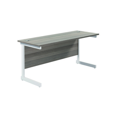Jemini Single Rectangular Desk 1800x600mm Grey Oak/White KF800834