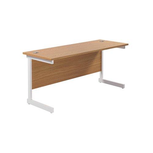Jemini Single Rectangular Desk 1800x600mm Nova Oak/White KF800840