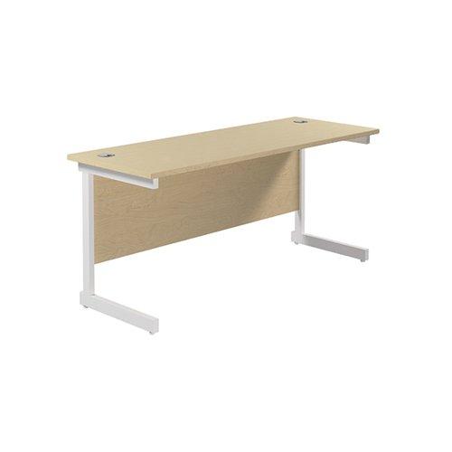 Jemini Single Rectangular Desk 1800x600x730mm Maple/White KF800862