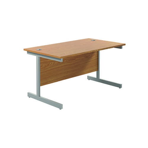 Jemini Single Rectangular Desk 1200x800mm Nova Oak/Silver KF801020