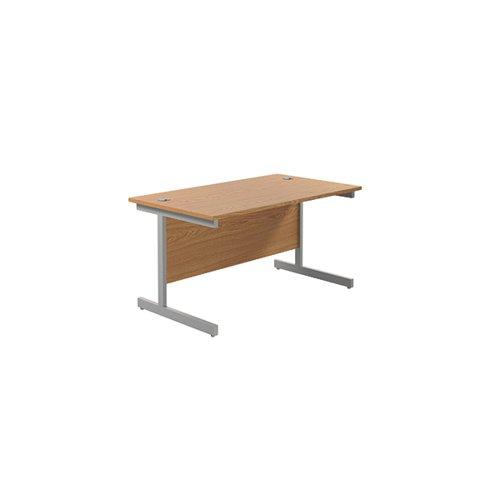 Jemini Single Rectangular Desk 1200x800mm Nova Oak/Silver KF801020
