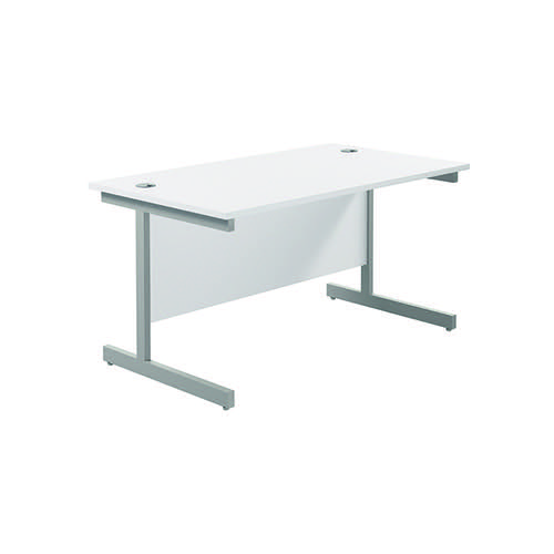 Jemini Single Rectangular Desk 1200x800mm White/Silver KF801033