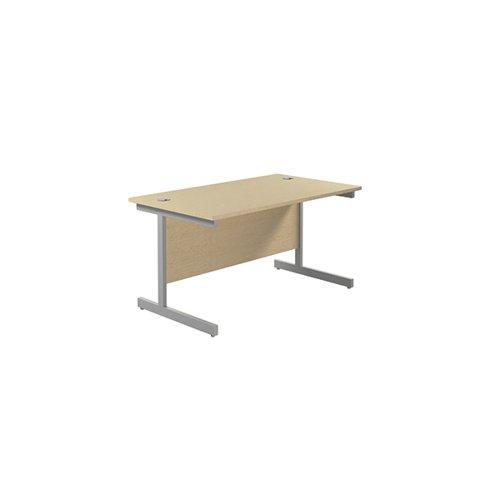 Jemini Single Rectangular Desk 1200x800x730mm Maple/Silver KF801049