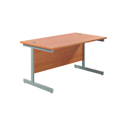 Jemini Single Rectangular Desk 1400x800mm Beech/Silver KF801126