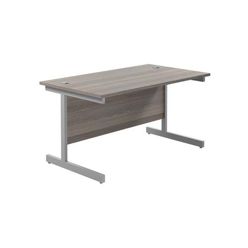 Jemini Single Rectangular Desk 1400x800mm Grey Oak/Silver KF801139
