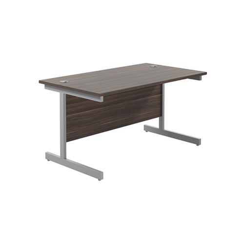 Jemini Single Rectangular Desk 1400x800mm Dark Walnut/Silver KF801173