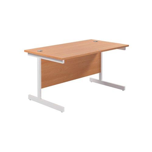 Jemini Single Rectangular Desk 1400x800mm Beech/White KF801189