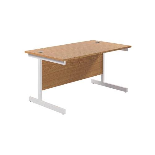 Jemini Single Rectangular Desk 1400x800mm Nova Oak/White KF801200