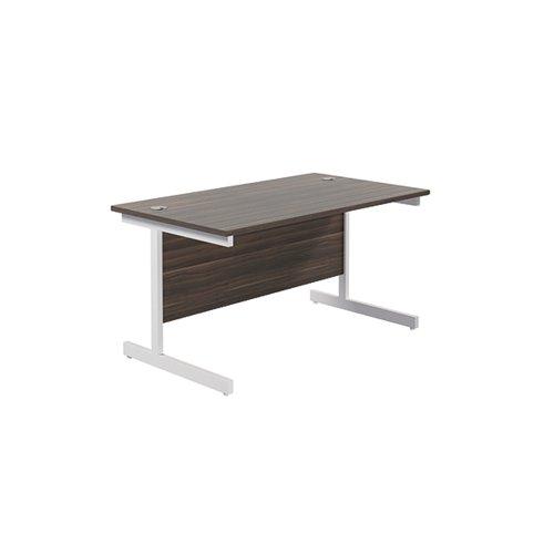 Jemini Single Rectangular Desk 1400x800mm Dark Walnut/White KF801235