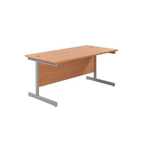 Jemini Single Rectangular Desk 1600x800mm Beech/Silver KF801241