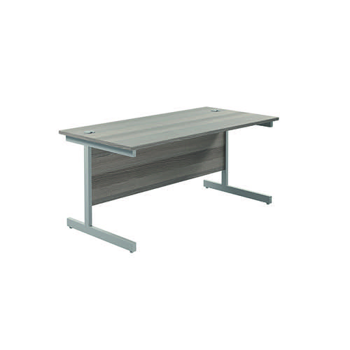 Jemini Single Rectangular Desk 1600x800x730mm Grey Oak/Silver KF801257