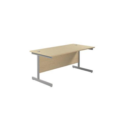 Jemini Single Rectangular Desk 1600x800mm Maple/Silver KF801285