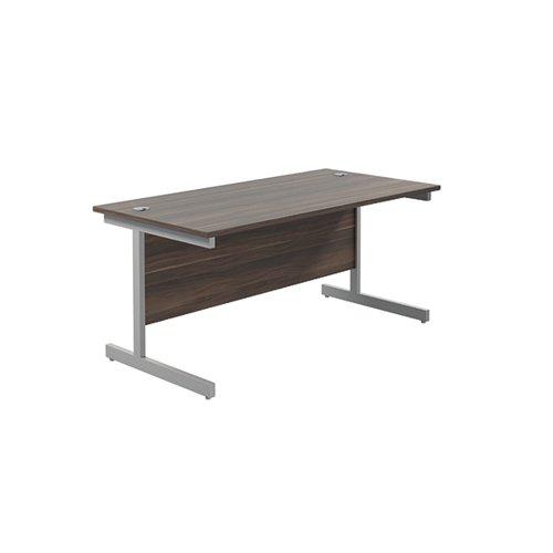 Jemini Single Rectangular Desk 1600x800x730mm Dark Walnut/Silver KF801291