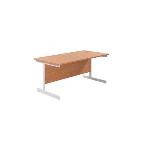Jemini Single Rectangular Desk 1600x800mm Beech/White KF801306