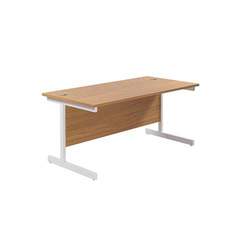 Jemini Single Rectangular Desk 1600x800mm Nova Oak/White KF801328