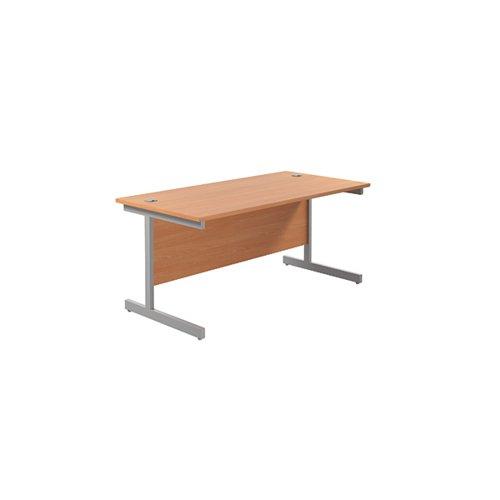 Jemini Single Rectangular Desk 1800x800x730mm Beech/Silver KF801369