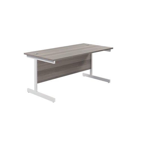 Jemini Single Rectangular Desk 1800x800mm Grey Oak/White KF801437