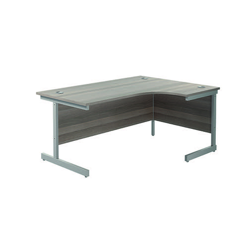 Jemini Right Hand Radial Desk 1600x1200mm Grey Oak/Silver KF801790