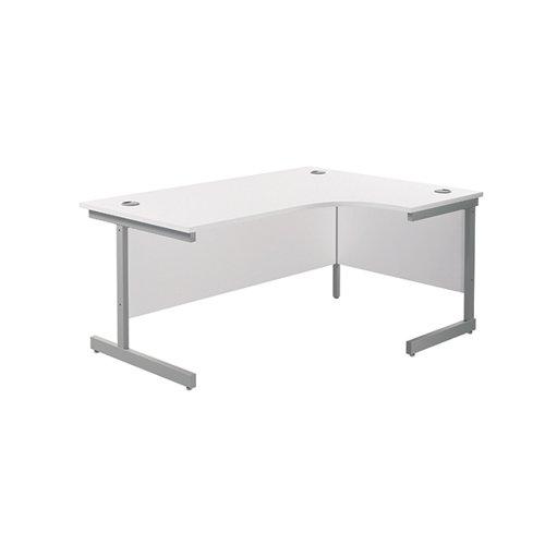 Jemini Right Hand Radial Desk 1600x1200mm White/Silver KF801811