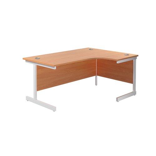 Jemini Radial Right Hand Cantilever Desk 1600x1200x730mm Beech/White KF801901