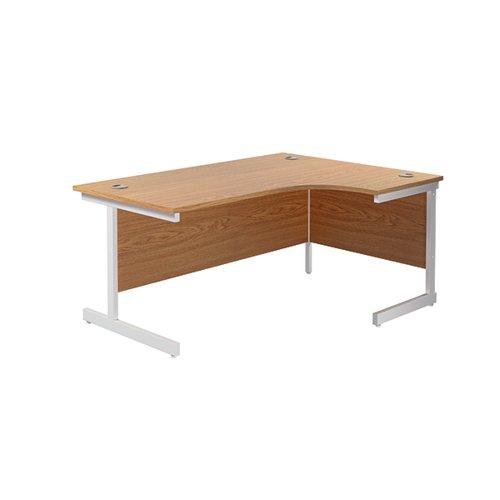 Jemini Right Hand Radial Desk 1600x1200mm Nova Oak/White KF801923